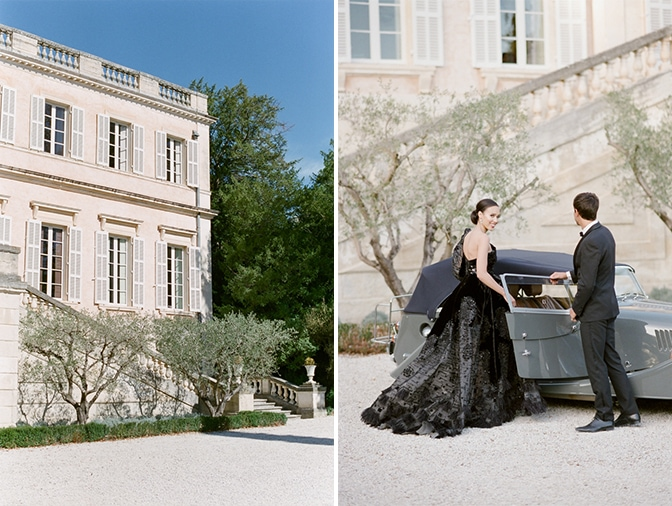 Bride entering a grey Rolls Royce in front of Chateau Martinay in Provence