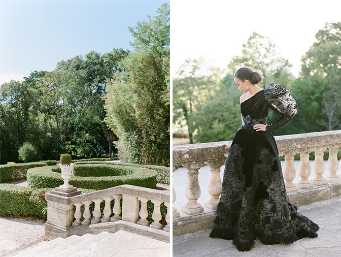 Black bride in her black Ziad Nakad gown on the terrace of Chateau Martinay in Provence
