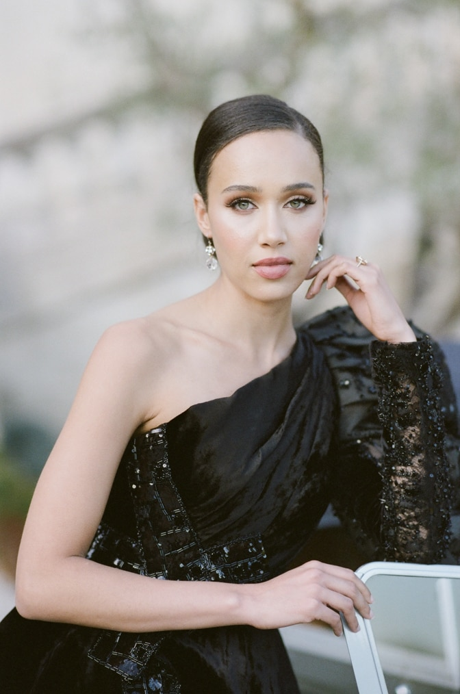 Black bride in a black Ziad Nakad couture gown at Chateau Martinay in Provence France