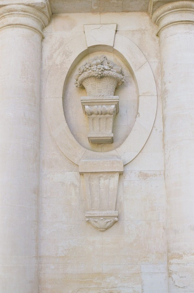 Closeup of a wall ornament at Chateau Martinay in Provence