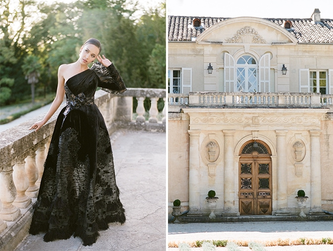 Black bride in her black Ziad Nakad couture wedding gown in front of Chateau Martinay in Provence