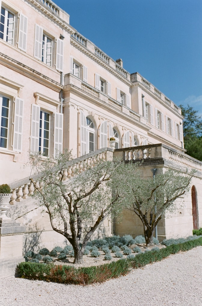 Backside of Chateau Martinay with olive trees in Provence