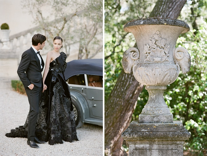 Bride and groom walking hand in hand to a grey Rolls Royce at Chateau Martinay in Provence