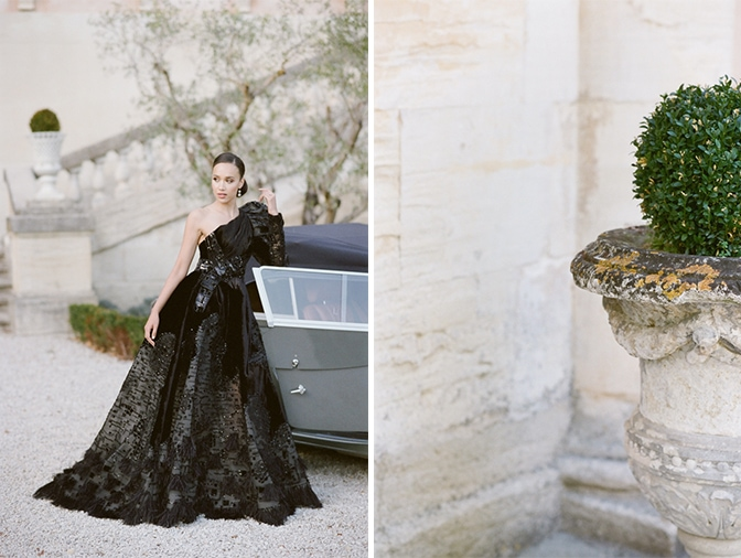 Black bride in her black Ziad Nakad couture gown leaning on a grey Rolls Royce at Chateau Martinay in Provence