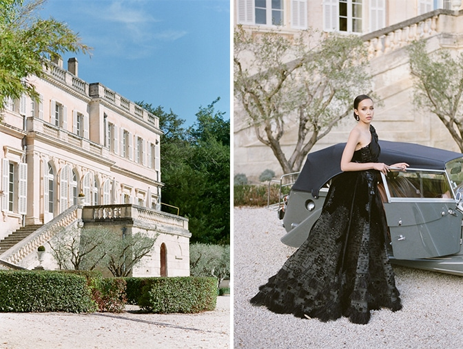Black bride in the garden of Chateau Martinay in Provence