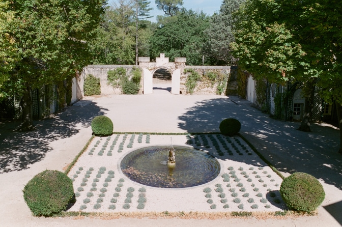 Courtyard with fountain of Chateau Martinay in Provence France