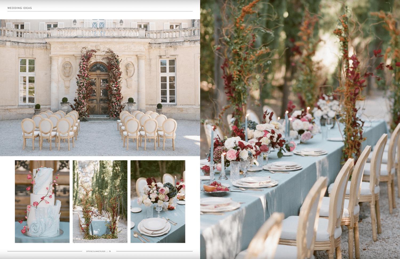 French Chateau Martinay wedding decor published in Muna Luchi Spring / Summer 2020 edition