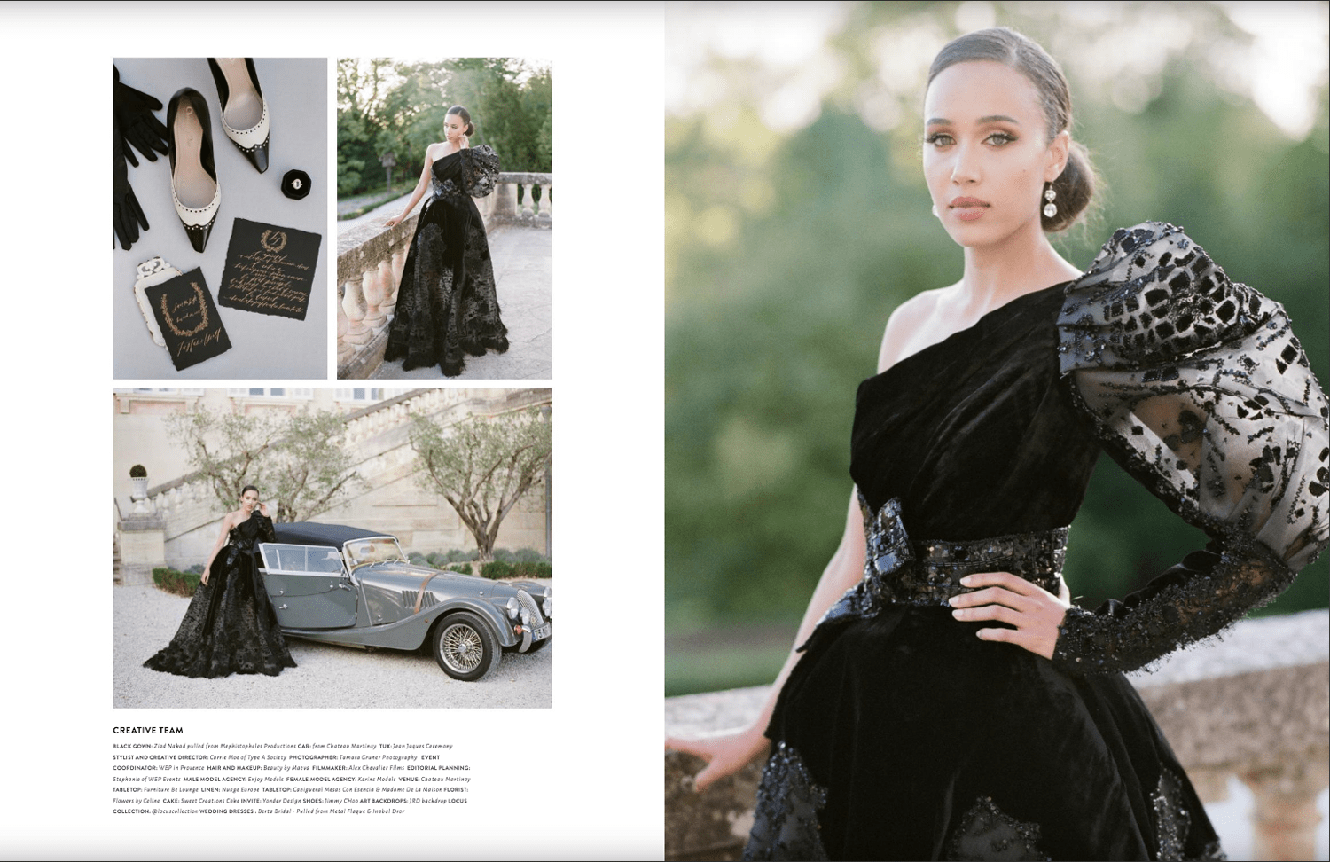Chateau Martinay Bridal session with a black Ziad Nakad gown published in Muna Luchi's Spring / Summer 2020 edition