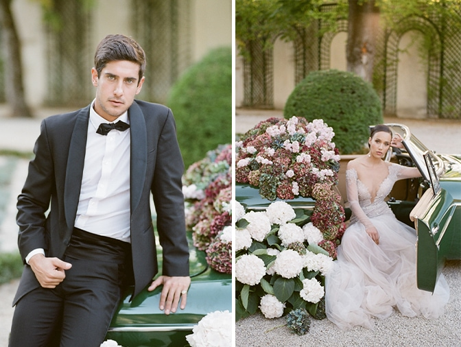 Groom in his black tux sitting on the rear of a green car filled with colorful hydrangea at Chateau Martinay
