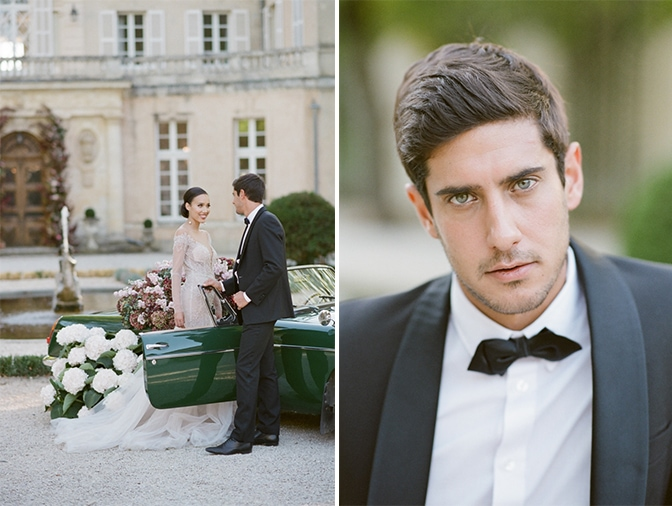Groom in his black tux looking into the camera at Chateau Martinay in Provence