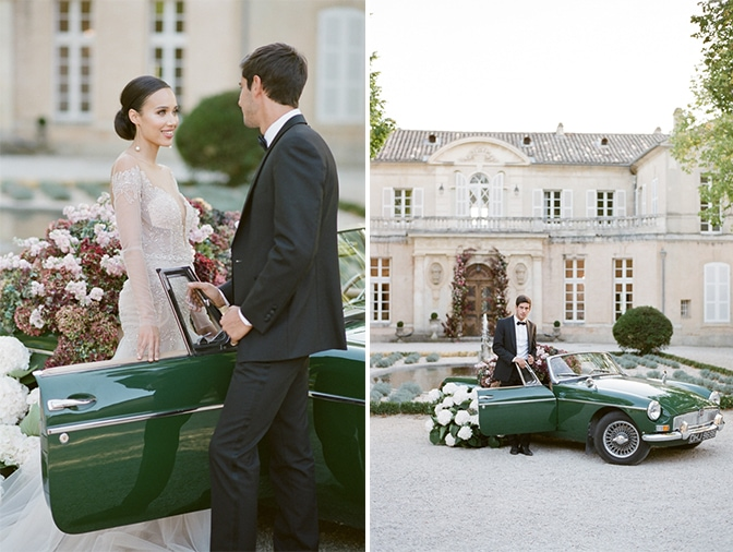 Groom standing in front of a green car filled with hydrangea at Chateau Martinay in Provence