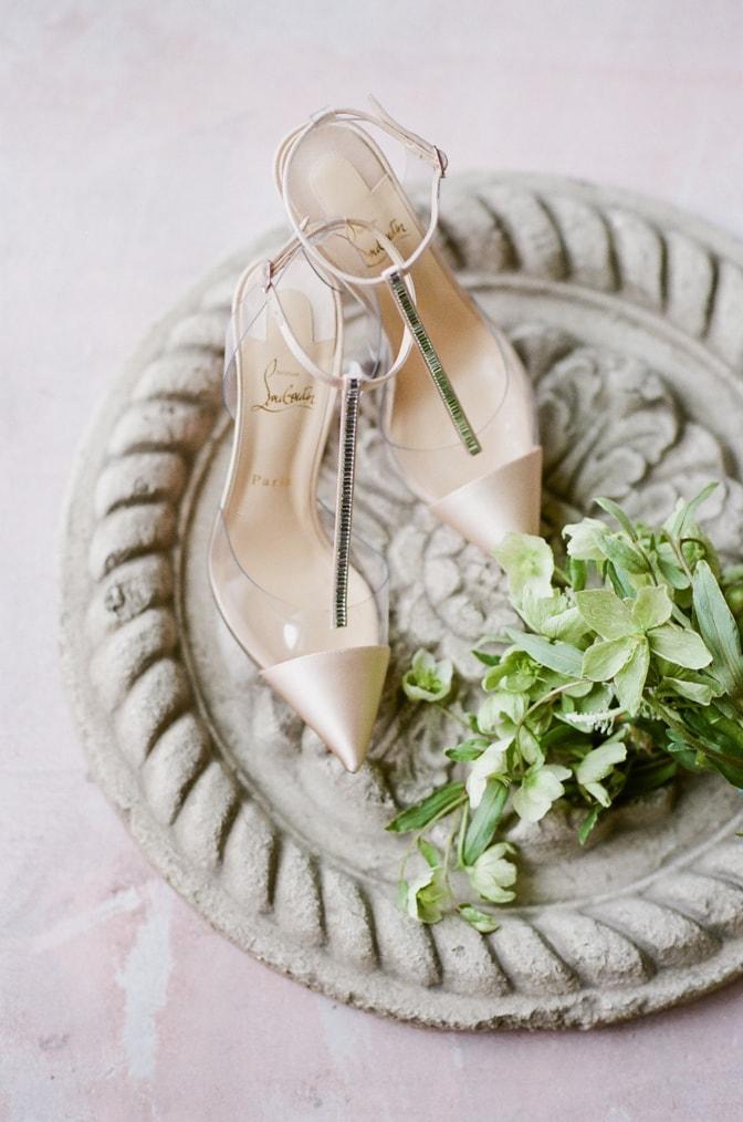 Luxury wedding shoe of Louboutin in blush