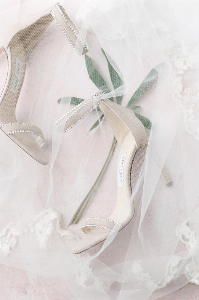 Luxury wedding shoes of Jimmy Choo in blush