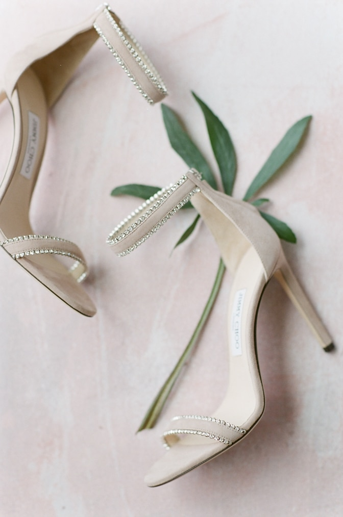 Luxury Jimmy Choo shoes in blush with crystals