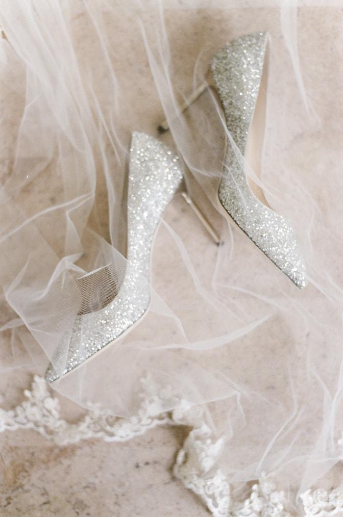 Luxury silver Jimmy Choo wedding shoes