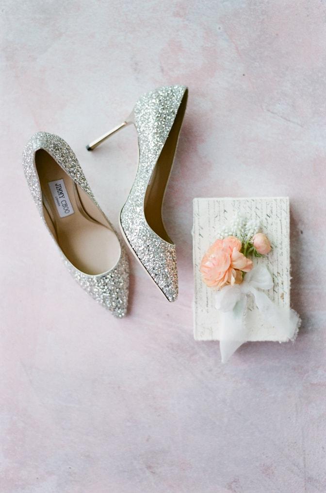 Luxury silver glitter Jimmy Choo wedding shoes