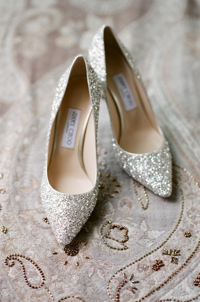 Glitter silver Jimmy Choo wedding shoes