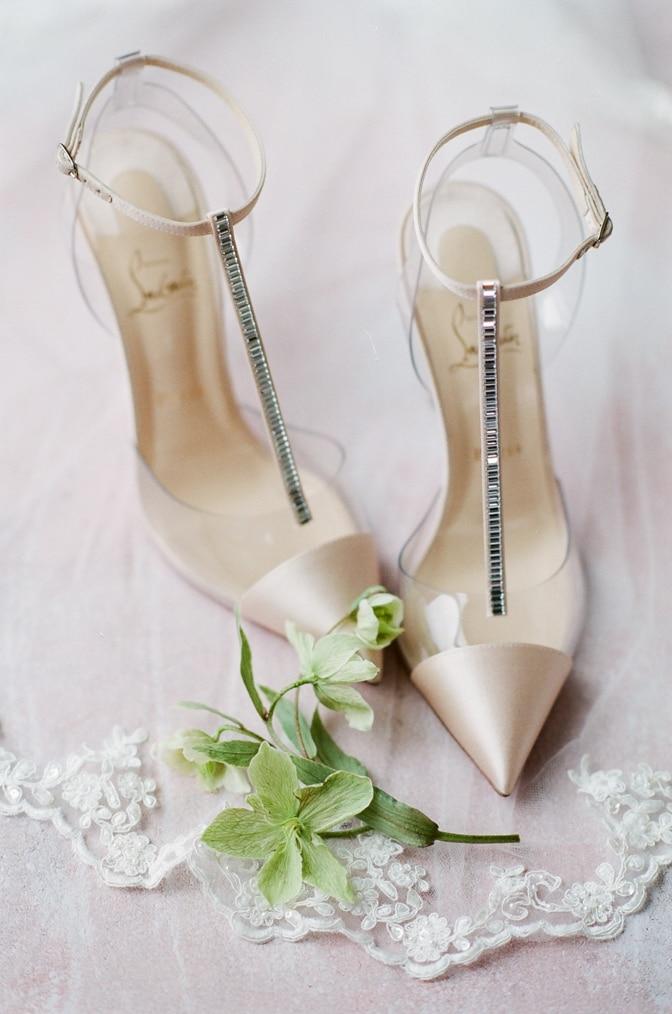 Blush luxury shoe pair of Louboutin