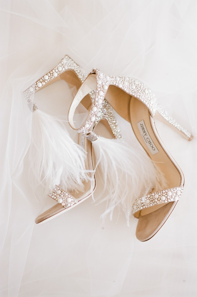Pearl and feather Jimmy Choo shoes