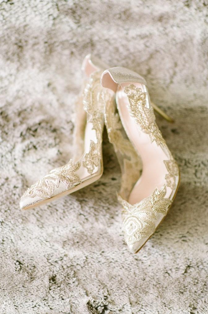 Oscar de la Renta gold lace wedding shoes