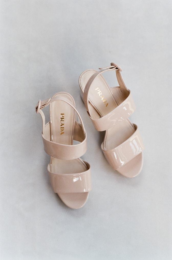 Blush Prada wedding shoes