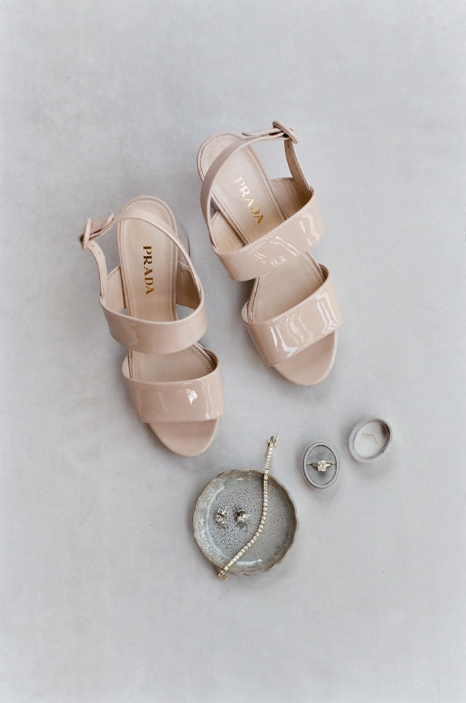 Luxury blush gloss leather Prada shoes