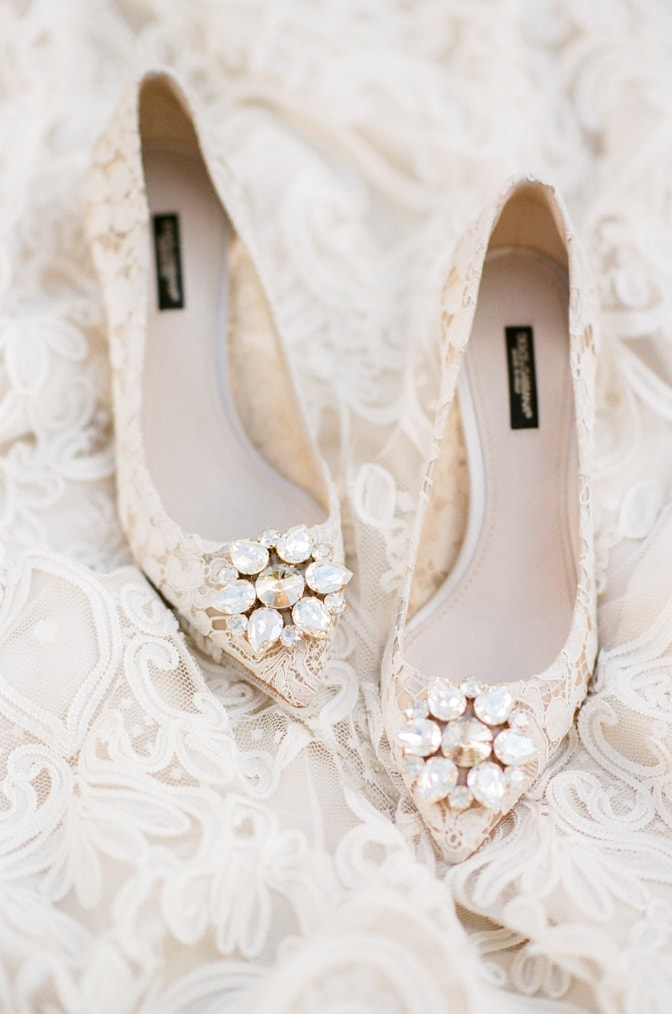 White lace Manolo Blahnik wedding shoes