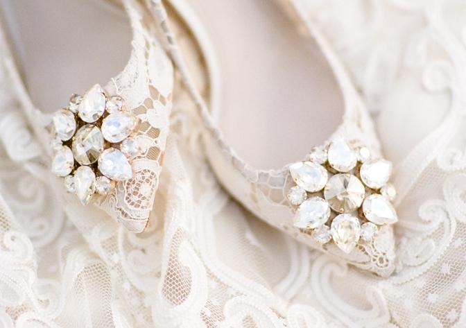 White lace luxury wedding shoes form Manolo Blahnik