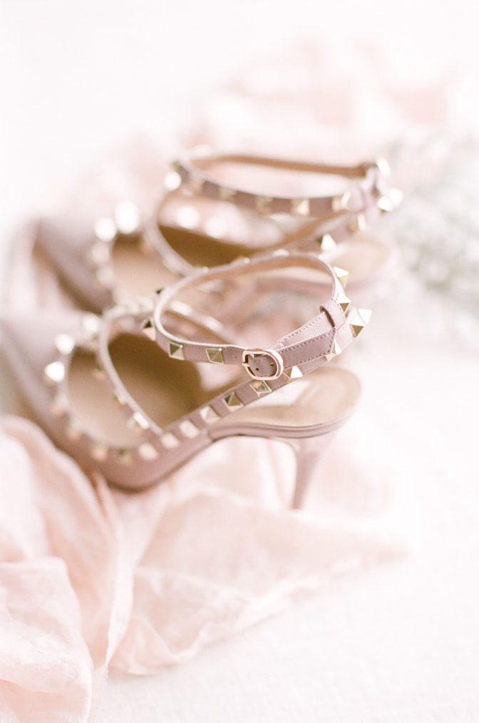 Blush gloss leather Valentino shoes with rockstuds
