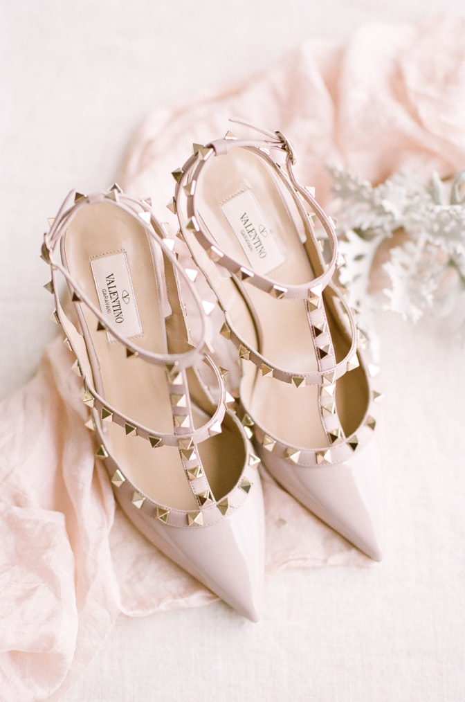 Rockstud Valentino shoes in gloss blush leather
