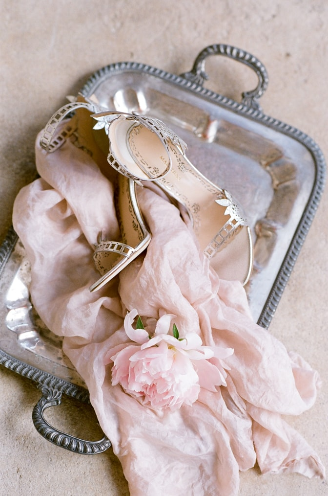 Luxury wedding shoes of Marchesa in gold