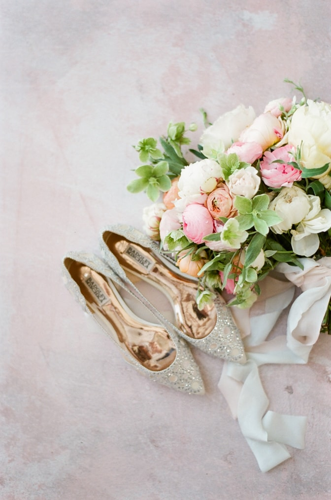 Flat Badgley Mischka wedding shoes adorned with crystals