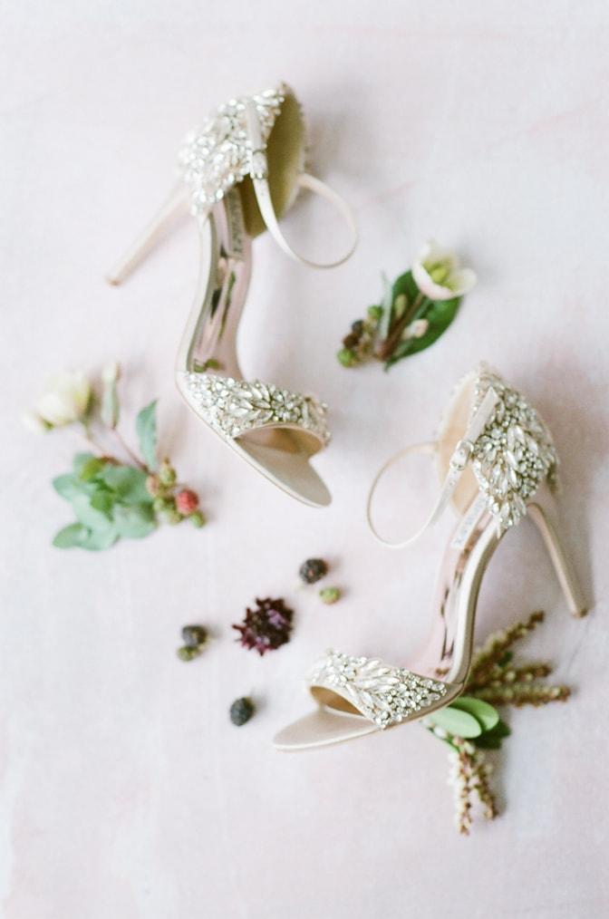 Badgley Mischka wedding shoes adorned with crystals