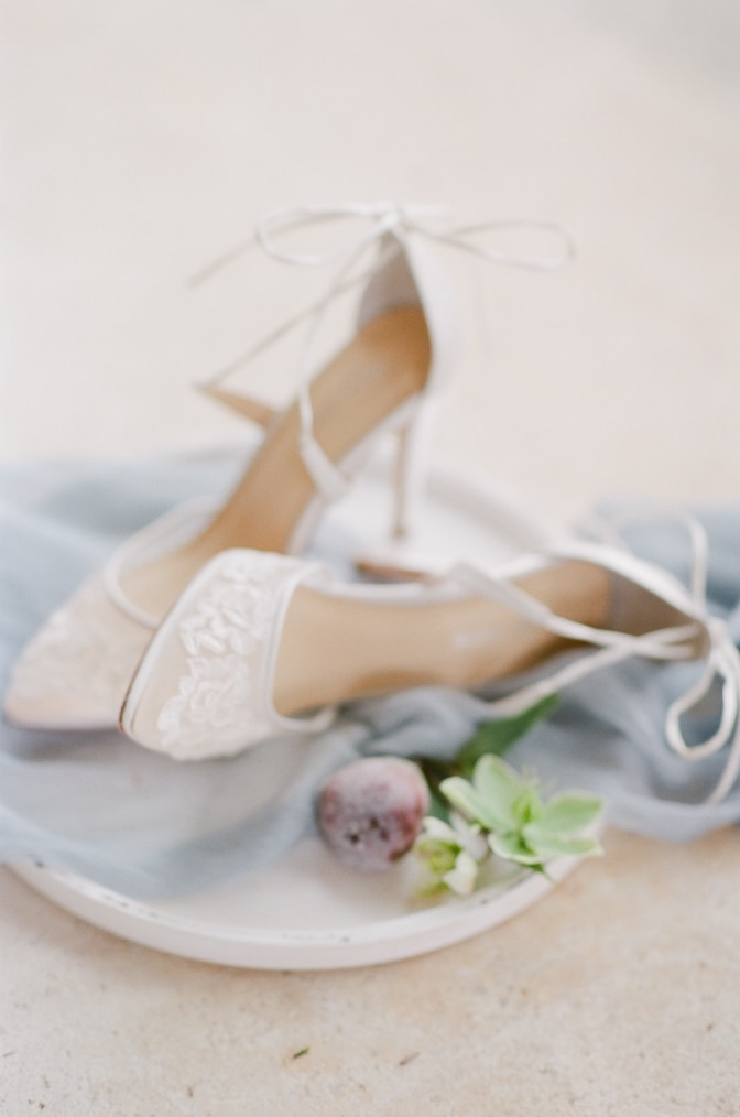White lace wedding shoes from Bella Belle