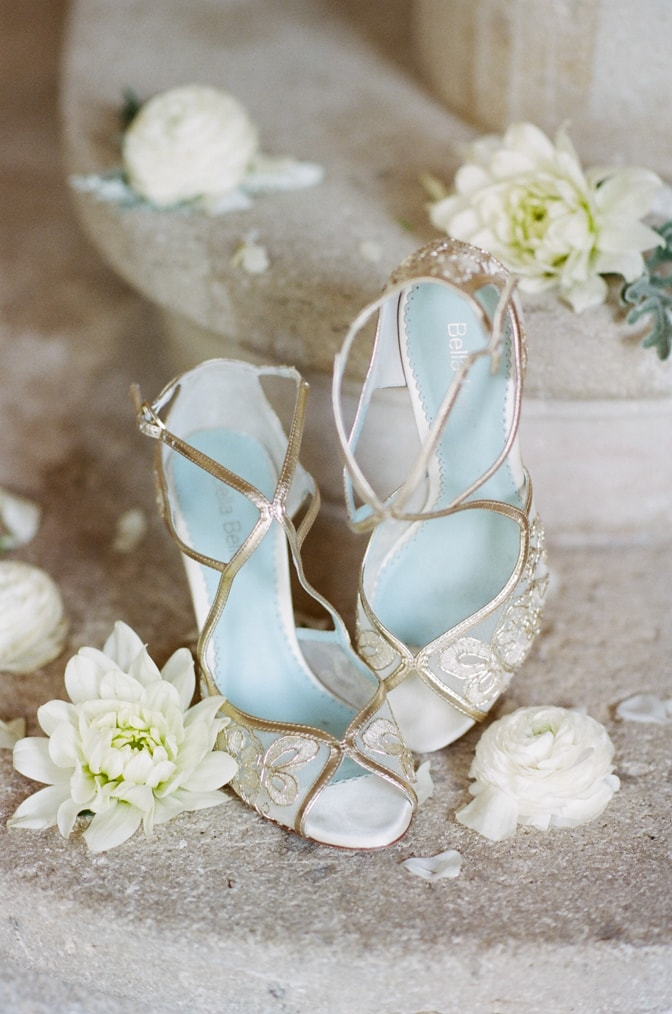 Gold lace wedding shoes from Bella Belle