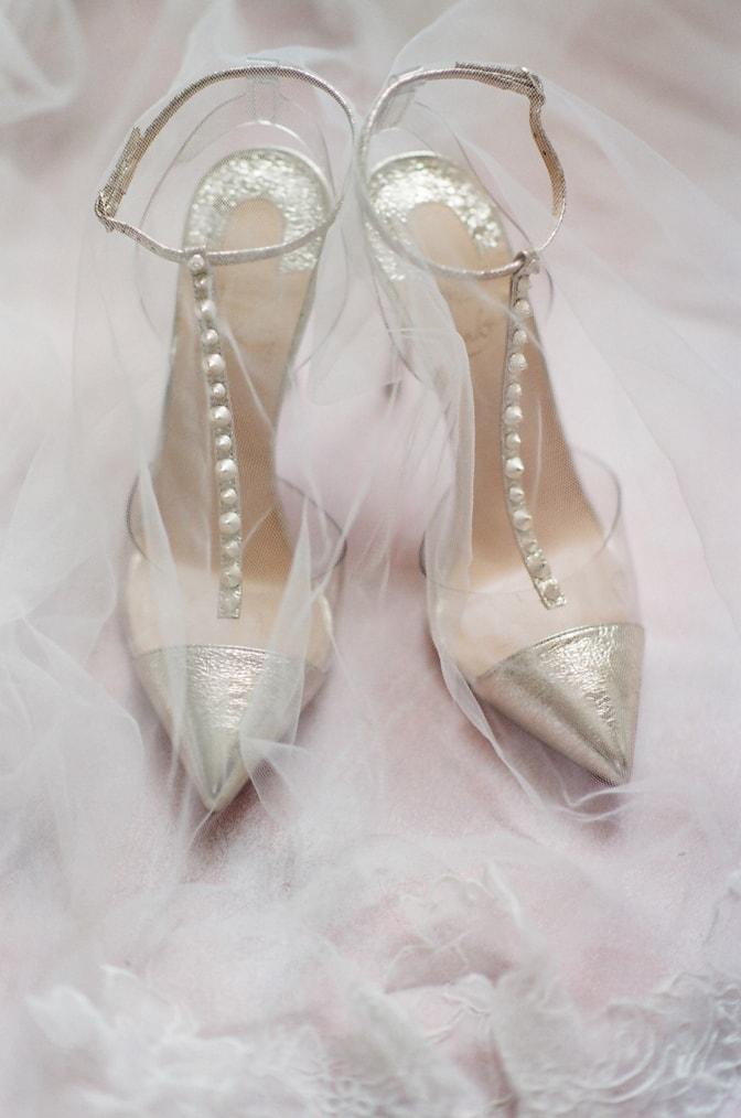Gold Louboutin shoes