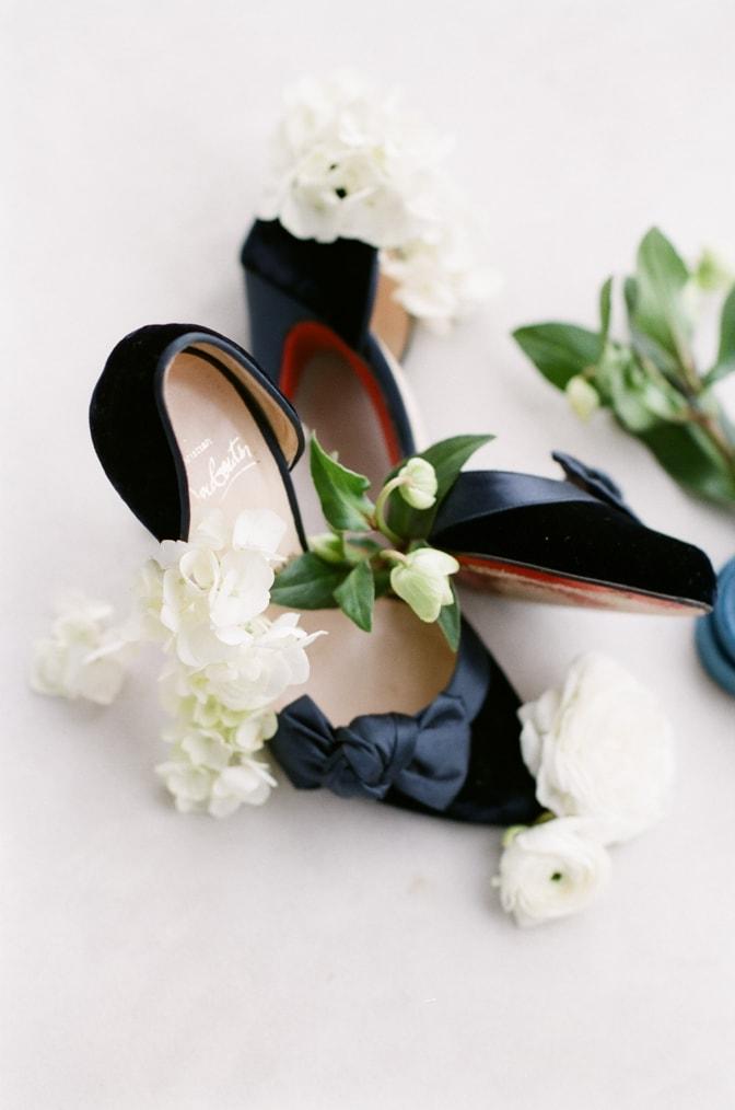 Luxury wedding shoe of Louboutin in blue