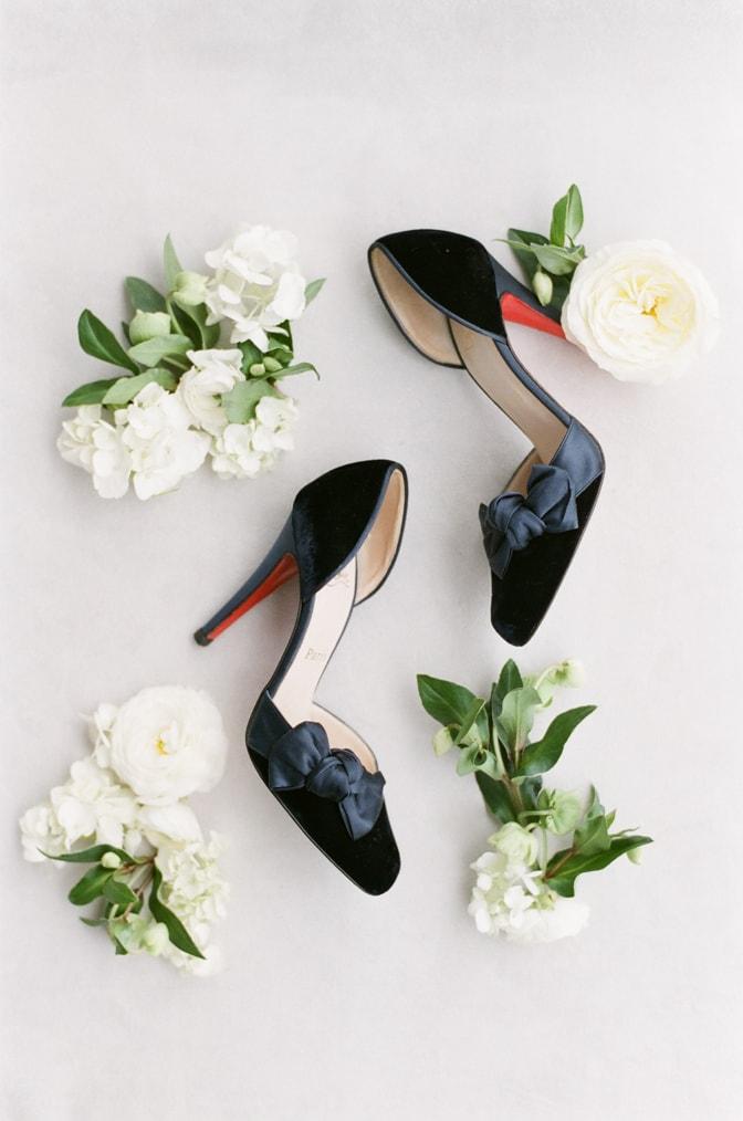 Luxurious blue Louboutin wedding shoes