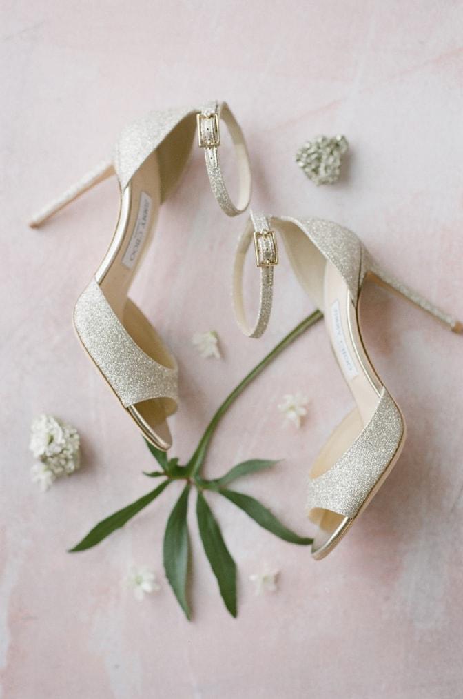Luxury gold Jimmy Choo wedding shoes