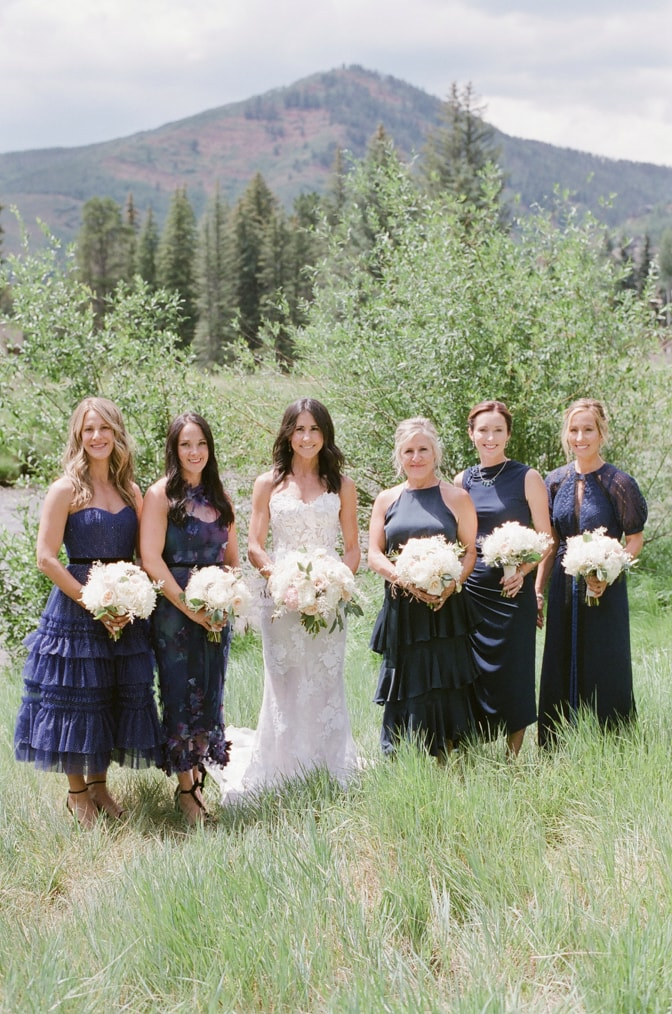 Bridal session with bride and bridesmaids in Vail Colorado