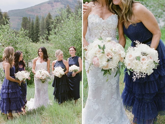 Bridal session with bride and bridesmaids in Vail in Colorado