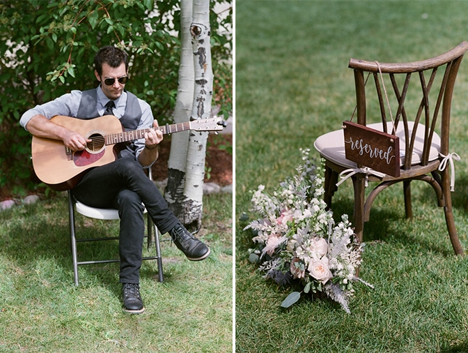 Guitarist playing at wedding at Larkspur Events and Dining in Vail