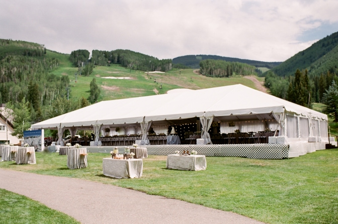 Tented reception at Larkspur Events and Dining during Vail wedding