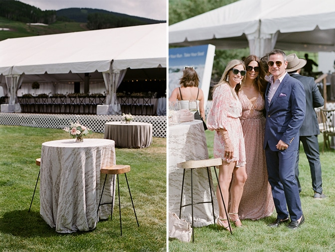 Wedding guests toasting during cocktail hour at Larkspur Events and Dining in Vail