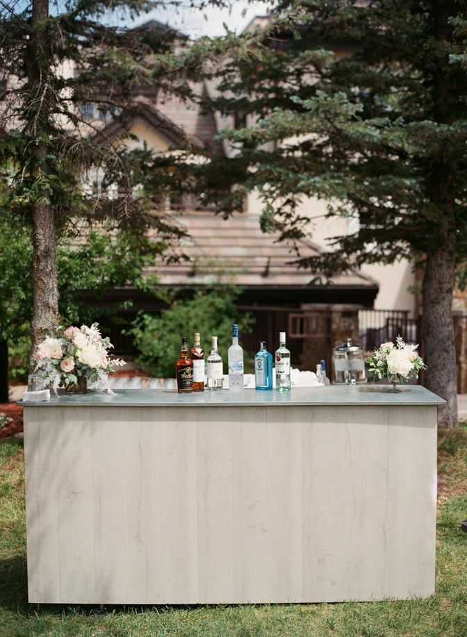 Reception with drinks at outside bar at Larkspur Events and Dining in Vail