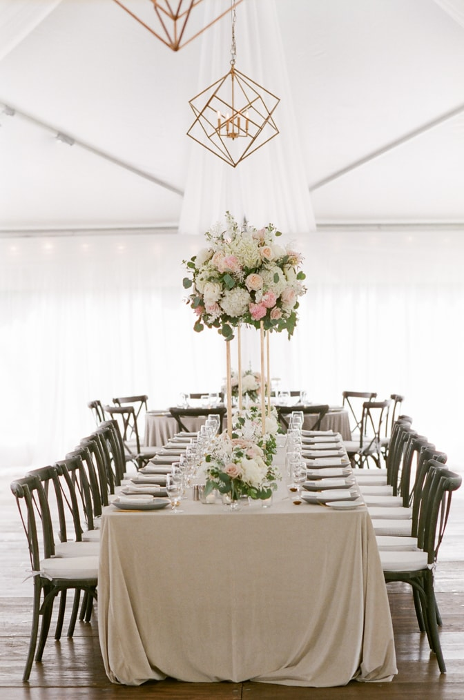 Dinner table with white and blush floral details