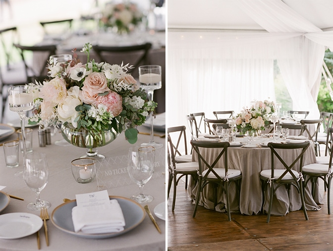Round tables with grey table covers and flower centerpieces at Vail wedding