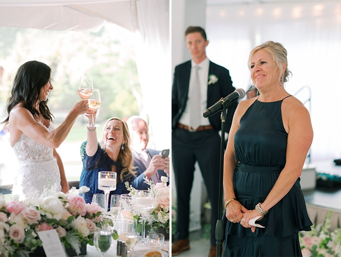 Woman giving toast at Vail wedding reception