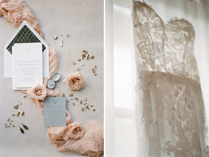 Collage of styled white and blue wedding invitation and wedding dress at Four Seasons Vail in Colorado