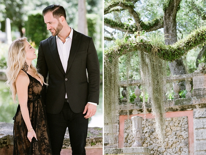 Bride and groom to be looking at each other during their engagement session at Vizcaya Museum and Gardens in Miami
